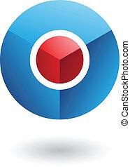 blauwe , kern, abstract, cirkel, rood, pictogram