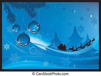 blauwe , kerstmis kaart, groet