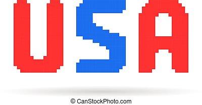 blauwe , kunst, usa, tekst, pixel, rood