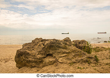 blauwe , lading, hemel, groot, schepen, bewolkt, zee, rots, strand
