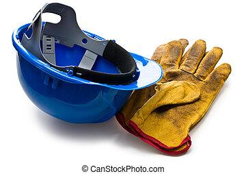 blauwe , leder, handschoenen, werkende , hardhat