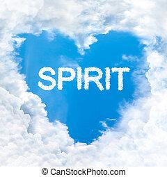 blauwe , liefde, binnen, hemel, alleen, woord, geest, wolk