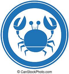 blauwe , logo, cirkel, krab