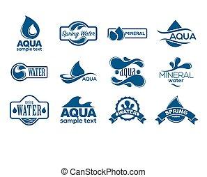 blauwe , logos, mineraal, iconen, collection., set., blauwgroen, etiket, water.