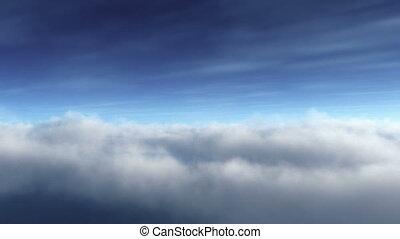 blauwe , lus, cloudscape, vliegen