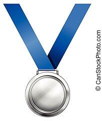 blauwe , medaille, zilver, lint
