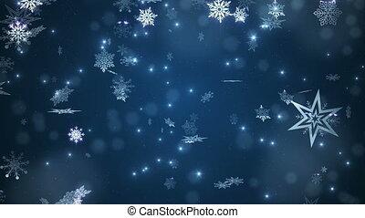 blauwe , mooi, het vallen, snowflakes