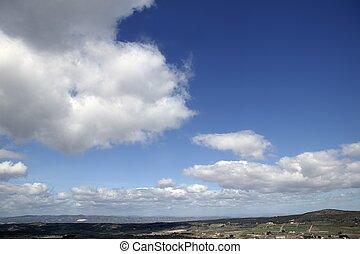 blauwe , mooi, wolken, natuur, zonnig, hemel, dag, witte , aanzicht