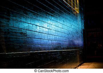 blauwe muur, baksteen, reflecteren, licht