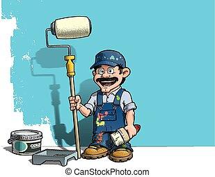 blauwe muur, handyman, -, uniform, schilder