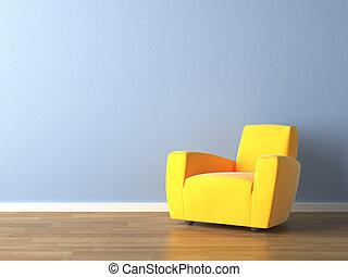 blauwe muur, leunstoel, gele, ontwerp, interieur