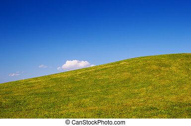 blauwe , natuur, duidelijke lucht, achtergrond., groene heuvel, gras