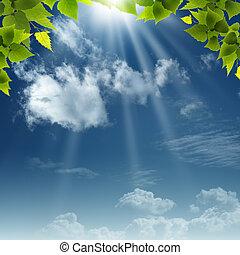 blauwe , natuurlijke , abstract, achtergronden, ontwerp, onder, skies., jouw