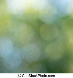 blauwe , natuurlijke , abstract, vaag, bokeh, circles., groene achtergrond, opmaak