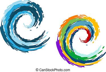 blauwe oceaan, kleurrijke, golven