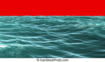 blauwe oceaan, onder, scherm, rood, choppy
