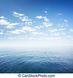 blauwe , op, hemel, oppervlakte, oceaanwater, zee, of