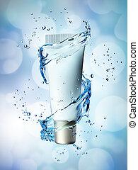 blauwe , op, water, achtergrond., gespetter, fles, spotten, room