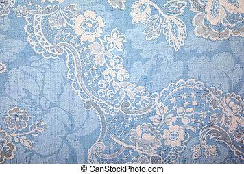 blauwe , ouderwetse , behang