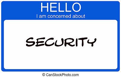 blauwe , over, naam, betrokken, label, veiligheid, hallo