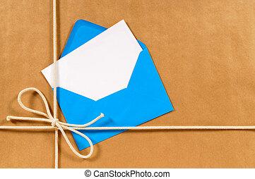 blauwe , pakpapier, enveloppe, pakket