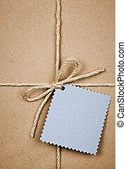 blauwe , pakpapier, kaart, cadeau