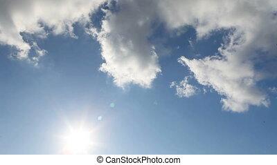 blauwe , panorama, wolken, hemel