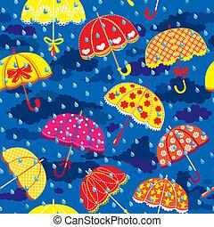 blauwe , paraplu's, wolken, kleurrijke, model, hemel, seamless, regen, achtergrond., druppels