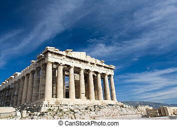 blauwe , parthenon, oud, hemel, athene, achtergrond, griekenland, facade, acropolis, tempel