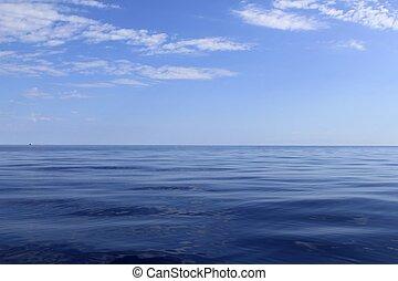 blauwe , perfect, zee, oceaan, kalm, horizon