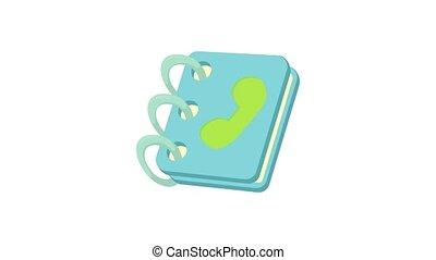 blauwe , pictogram, - adresboek, animatie