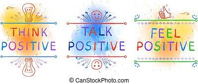 blauwe , positive., achtergrond., positief, vignettes., voelen, uitdrukkingen, yelolow, de plons van de verf, plonsen, inspirational, doodle, denken, praatje