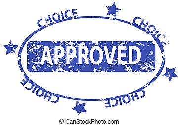 blauwe , postzegel, grunge, aprover, kantoor