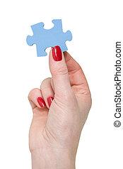 blauwe , puzzelstuk, hand