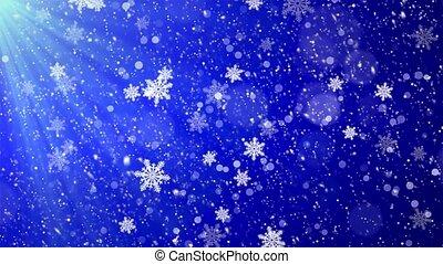 blauwe , rechts, winter, achtergrond., achtergrond, het vallen, kerstmis, lus, links