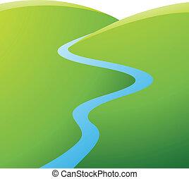 blauwe , rivier, groene heuvels