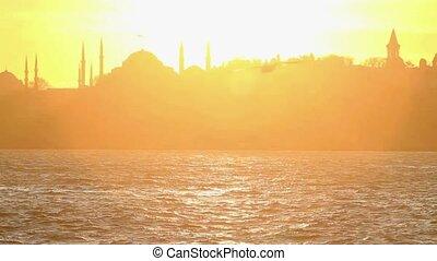 blauwe , sarayburnu., hagia, topkapi, afstand, palace., bekende & bijzondere plaatsen, vliegen, istanboel, motie, vertragen, moskee, zulk, zeemeeuw, sophia