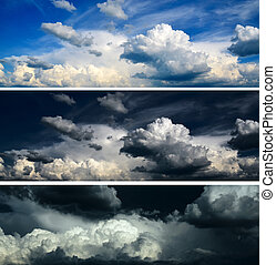 blauwe , set, hemel, stormachtige hemel, -, dramatisch