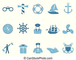 blauwe , set, zeilend, iconen