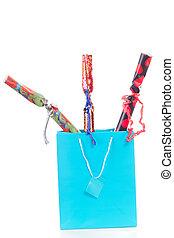 blauwe , shoppen , drie, kadootjes, zak, kerstmis