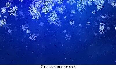 blauwe sneeuw, beautifully, partikels, geanimeerd, winter, kerstmis, het vallen, achtergrond
