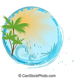 blauwe , spandoek, palm, ronde