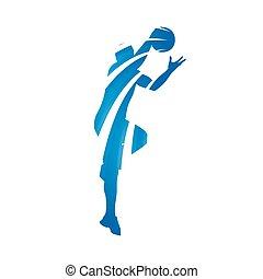 blauwe , speler, abstract, basketbal, vector