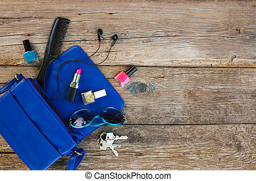 blauwe , spullen, bovenzijde, dame, accessoires, vrouwen, purse., schoonheidsmiddelen, overzicht., handbag., open, vellen, uit