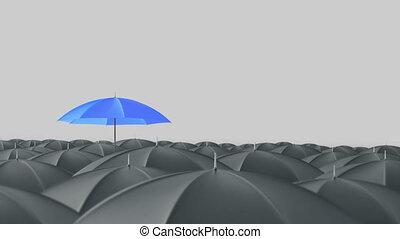 blauwe , staand, concept, paraplu, menigte, massa, uit