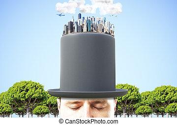 blauwe , stad, cilinder, bovenzijde, hemel, megapolis, zwarte achtergrond, 3d, man