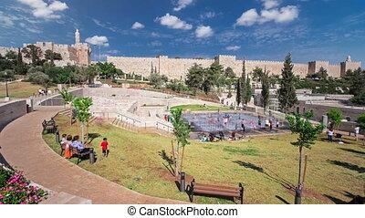 blauwe , stedelijke , israel., teddy, hemel, timelapse, park, david, jeruzalem, achtergrond, onder, nieuw, toren, hyperlapse