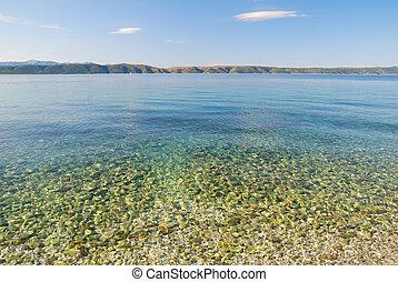 blauwe , steentjes, schoonmaken, vloer, zee, transparant