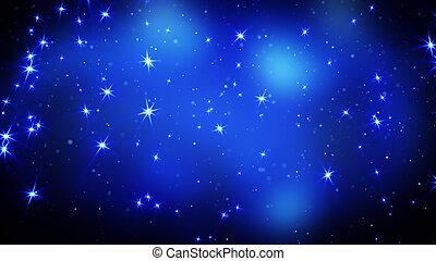 blauwe , sterretjes, achtergrond, het glanzen