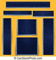 blauwe stof, set., fringe., textuur, textured, banieren, denim